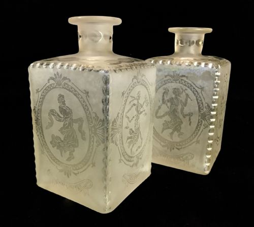 Antique German Liqueur Decanter Pair / Showing The 4 Seasons / Square Glass